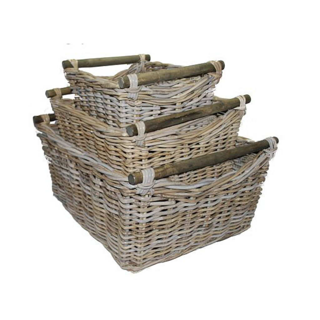 Rattan Basket Rectangle With Wood Handles French Grey Storage Kubu-Janggalay