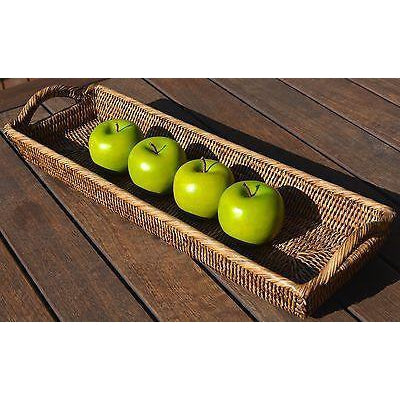 Rattan Bread Basket Fruit Entertaining Long Rectangle Tray-Janggalay