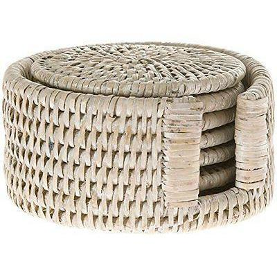 Rattan Coaster Set Round in Holder Woven Cane Whitewash or Dark Brown Natural-Janggalay