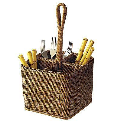 Rattan Cutlery Condiment Holder Caddy Whitewash or Dark Brown-Janggalay