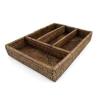 Rattan Cutlery Tray Dark Brown 4 Compartments Handmade High Quality-Janggalay