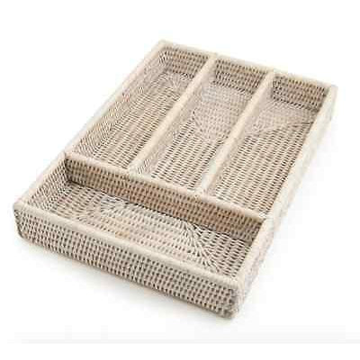 Rattan Cutlery Tray White Wash 4 Compartments Handmade-Janggalay