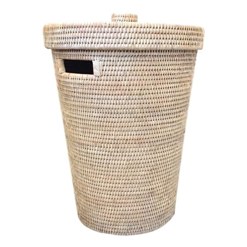 Rattan Laundry Basket Clothes Hamper with Lid Whitewash Woven-Janggalay