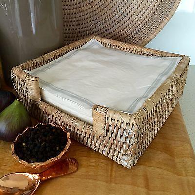 Rattan Napkin Serviette Holder Handmade Natural Woven White Wash-Janggalay