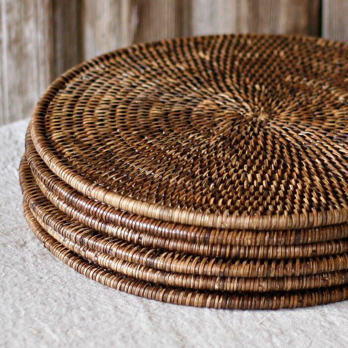 Rattan Round Placemat Set of 2 Fine Woven Cane Dark Brown-Janggalay