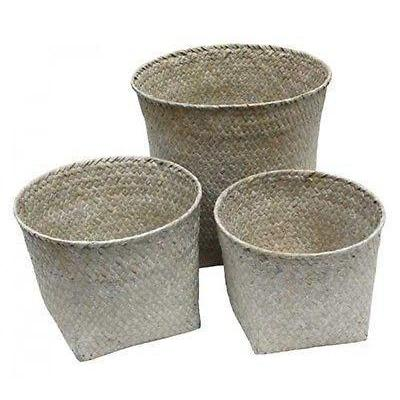 Rattan Woven Box or Basket or Large Basket Set Whitewash Natural Handmade-Janggalay