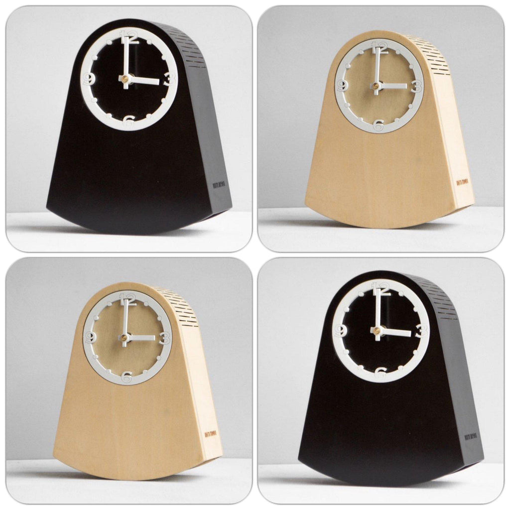 Rock Clock Self Rocking with Pendulum Black Wood Modern Table/Mantle/Bedside-Janggalay