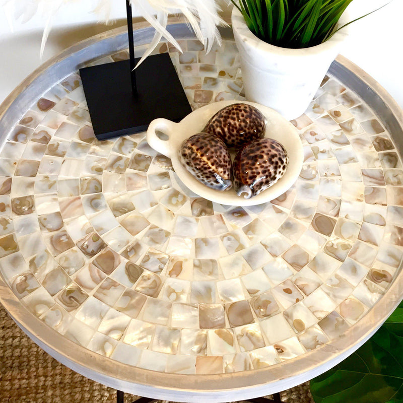 Round Wooden Folding Coffee Table Mother Of Pearl Shell Inlay-Janggalay
