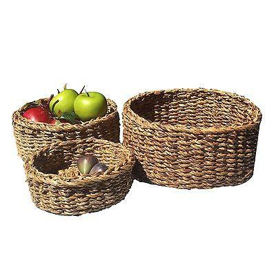 Round Seagrass Basket Storage Set of 3-Janggalay