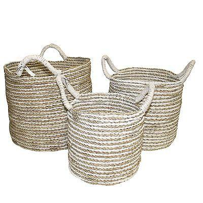 Seagrass Basket Woven Natural with Handles-Janggalay