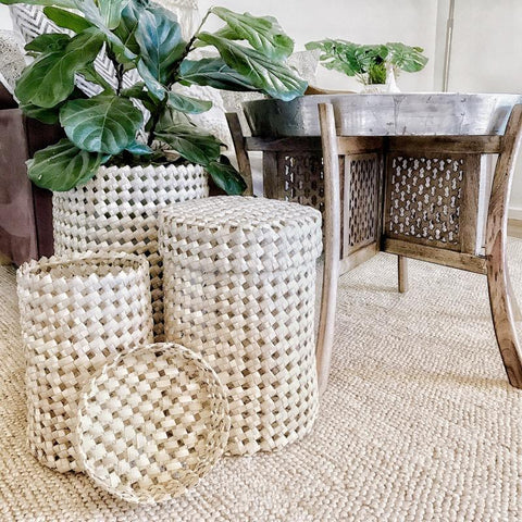 Seagrass Storage Baskets Round Set of 3-Baskets-Janggalay