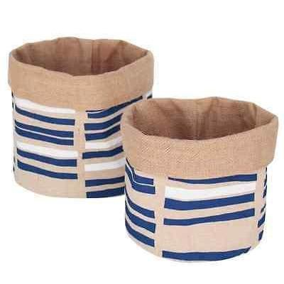 Set of 2 Jute Basket Fruit/Bread/Tidy/Storage Bucket Indigo Blue & White-Janggalay
