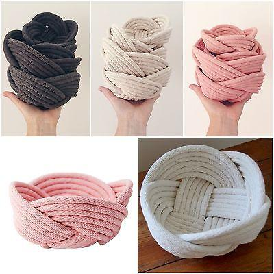 Slate Grey Rope Bowl Weave Handmade Cotton Keys Remotes Jewellery Storage-Janggalay