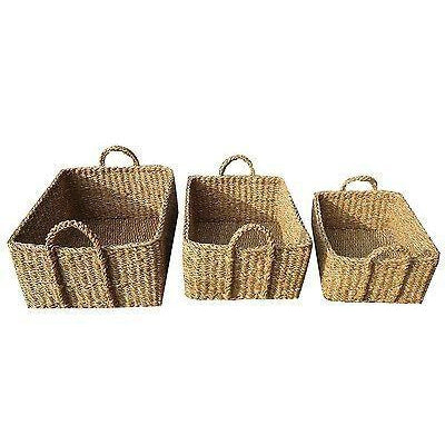 Small Rectangle Storage Basket Seagrass Woven-Janggalay