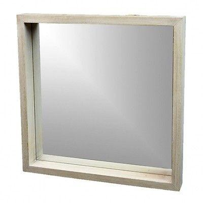 Square Mirror Whitewash Wood Rim 42cm Coastal Hamptons-Janggalay