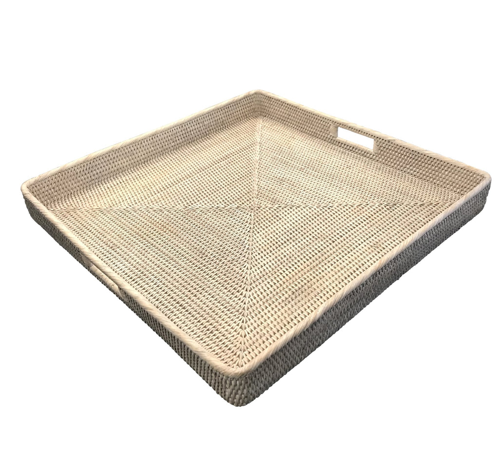 Square Rattan Tray White Wash Extra Large