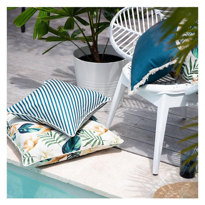 Teal Fringe Cushion Outdoor/Indoor 45cm-Janggalay