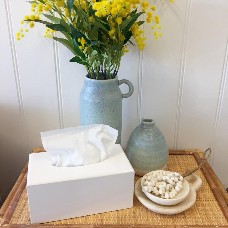 White Lacquer Tissue Box Cover Rectangle-Janggalay