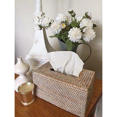 White Wash Rattan Cane Woven Tissue Box Cover Rectangle-Janggalay