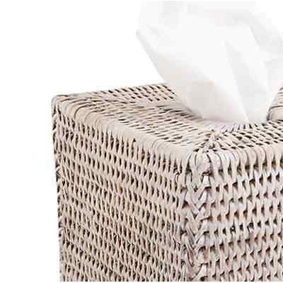 White Wash Rattan Tissue Box Cover Square-Janggalay