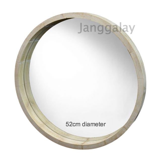 Wood Rim Round Mirror Wall Mirror Wooden White Wash 52cm Beach Hamptons Modern-Janggalay