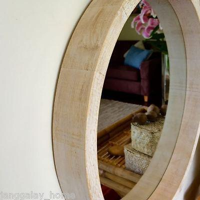 Wood Rim Round Mirror Wall Mirror Wooden White Wash 62cm Beach Hamptons Modern-Janggalay