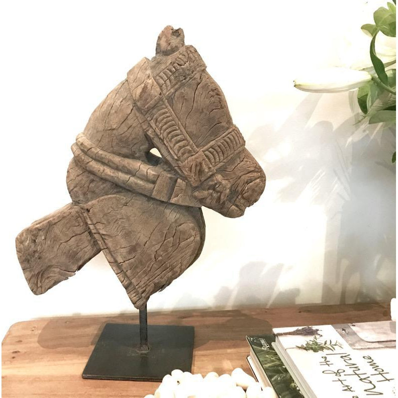 Wooden Horse Head Vintage Indian Carved Decor on Metal Stand No.1-Janggalay
