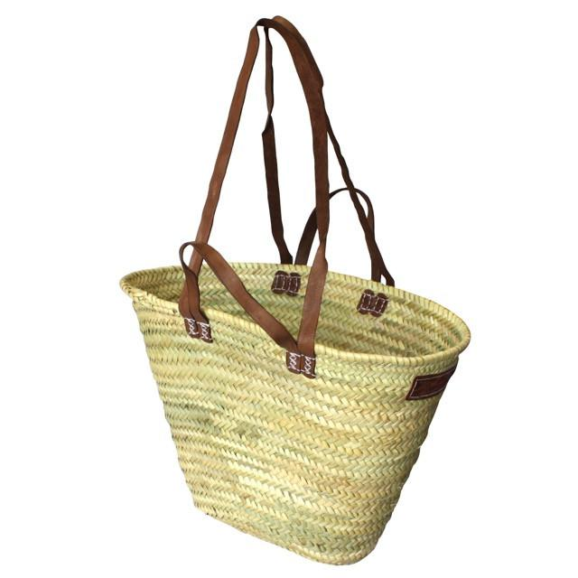 Woven French Market Basket Shopping Picnic 2x Leather Handles - Medium-Janggalay