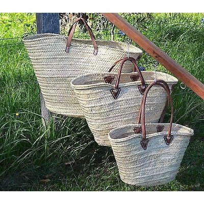 Woven French Market Basket Shopping Picnic Deluxe Leather Shoulder Handles-Janggalay