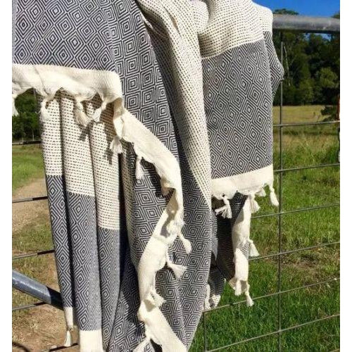 XXL Picnic Blanket/Rug/Throw Turkish Towel - Light Blue Bedspread Tablecloth-Janggalay