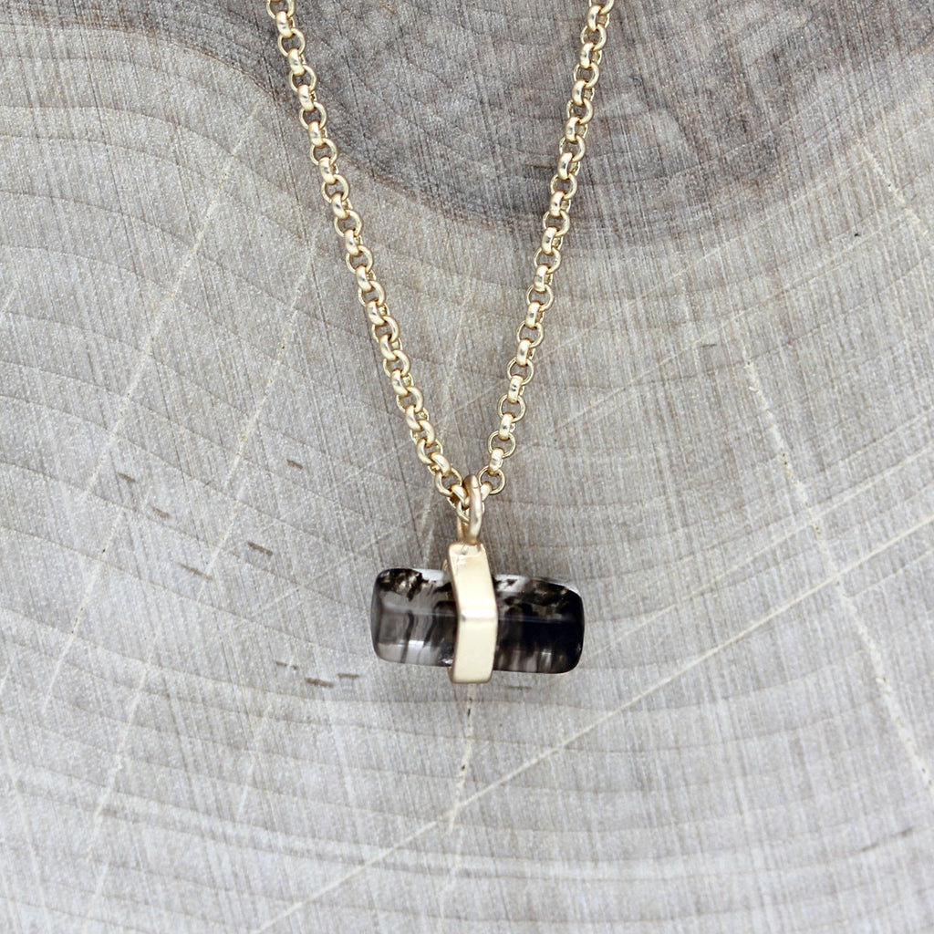 Mini Rectangle Pendant Necklace