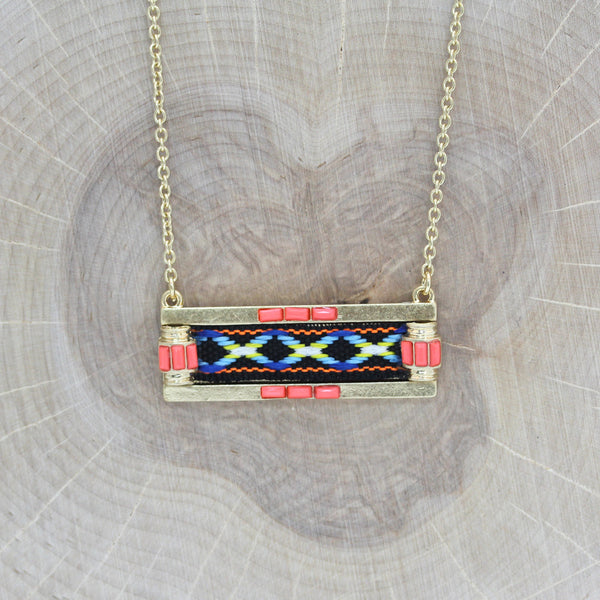 Woven Pendant on Brass Chain