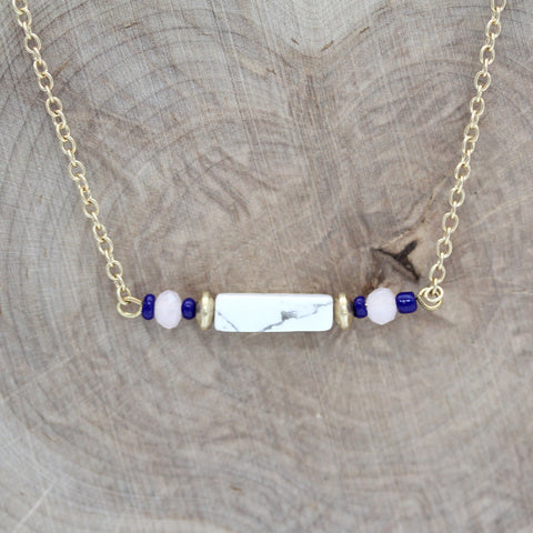 Brass and Howlite Station Long Necklace