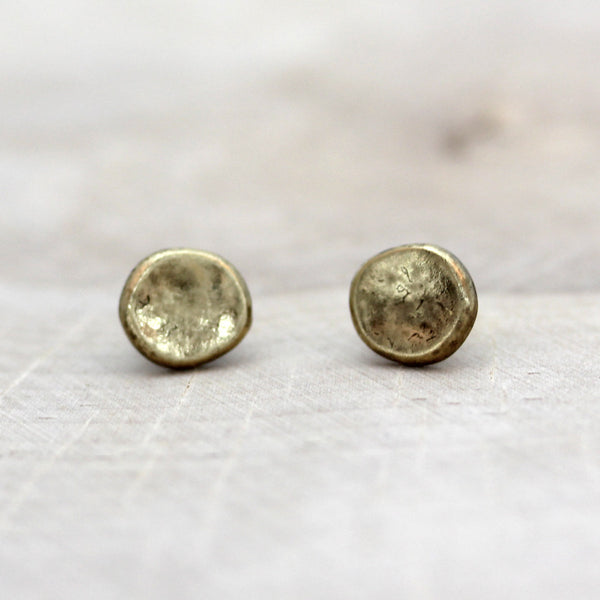 Hammered Disc Stud Earrings