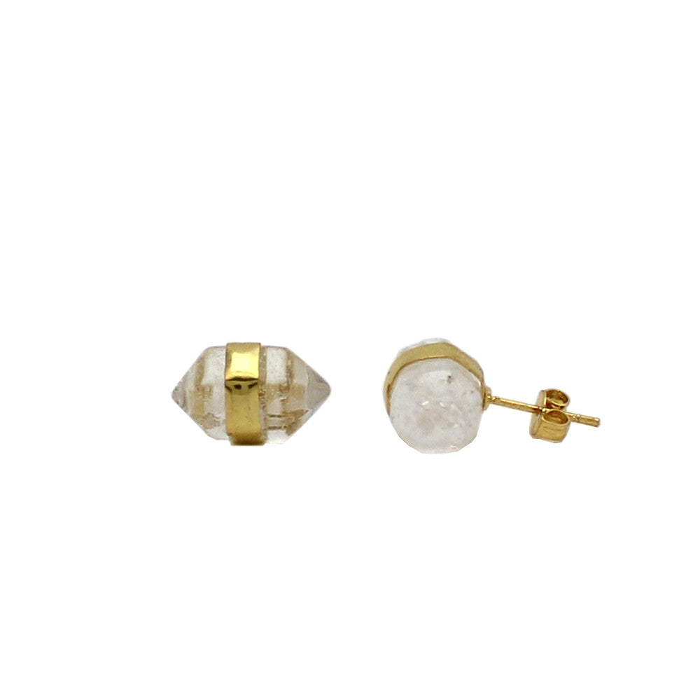 Faceted Gem Stud Earrings - Quartz Crystal
