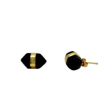 Faceted Gem Stud Earrings - Onyx