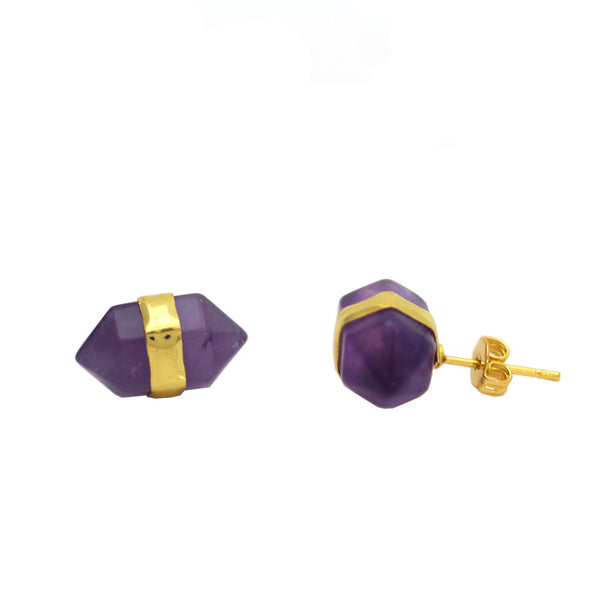Faceted Gem Stud Earrings - Amethyst