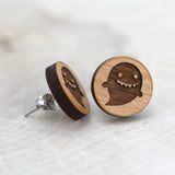 Wooden Ghostie Earrings