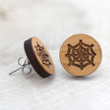Wooden Spider Web Earrings