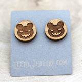 Wooden Scare Bear Earrings
