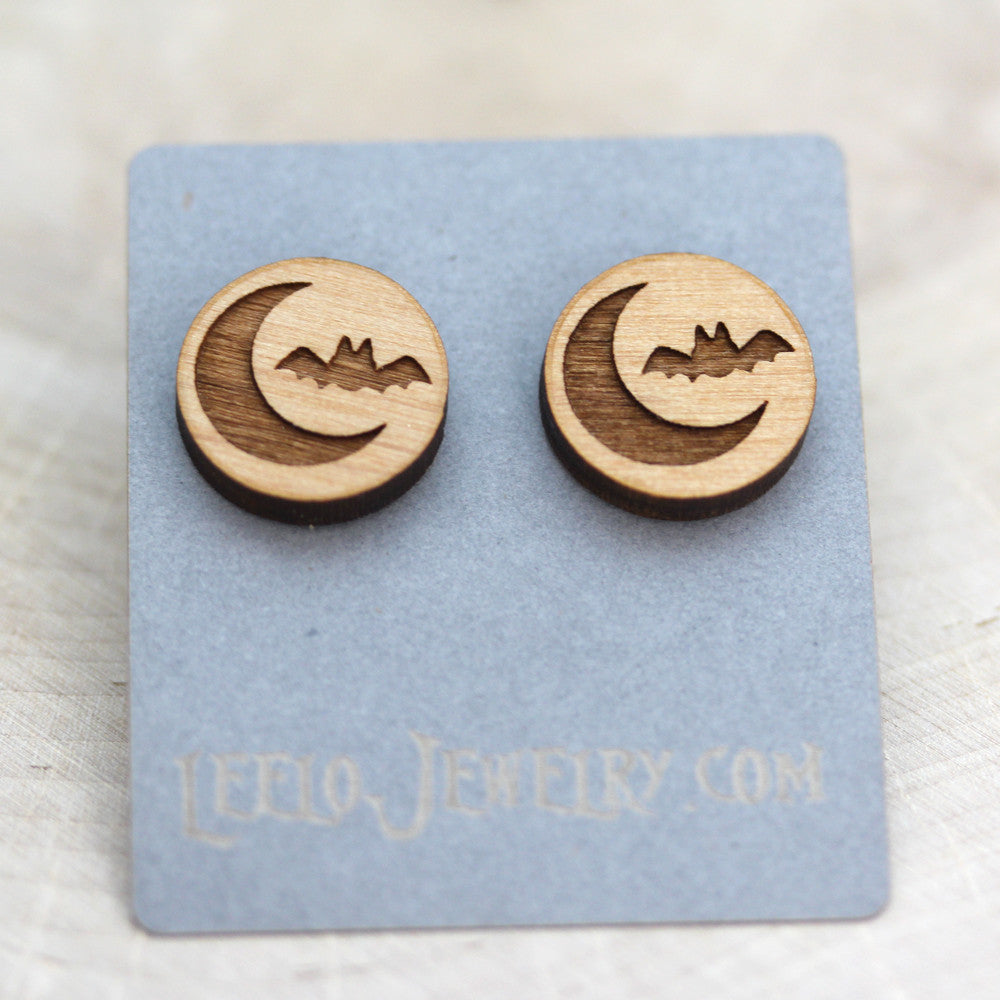 Wooden Spooky Night Earrings