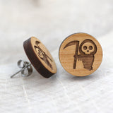 Wooden Grim Reaper Earrings