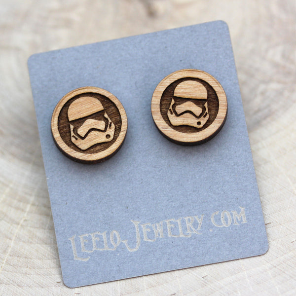 Wooden Storm Trooper Earrings
