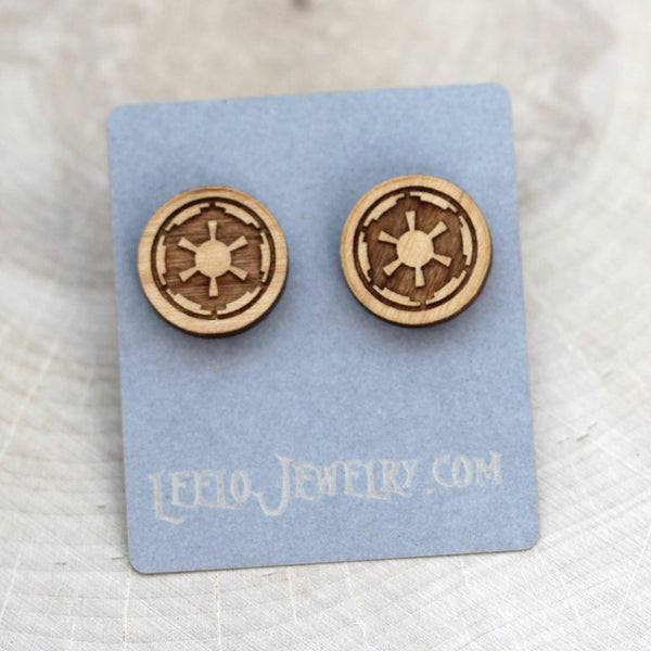 Wooden Galactic Empire Earrings