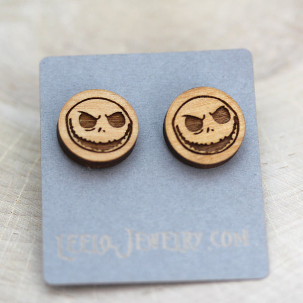 Wooden Scary Jack Skellington Earrings