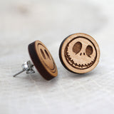 Wooden Happy Jack Skellington Earrings