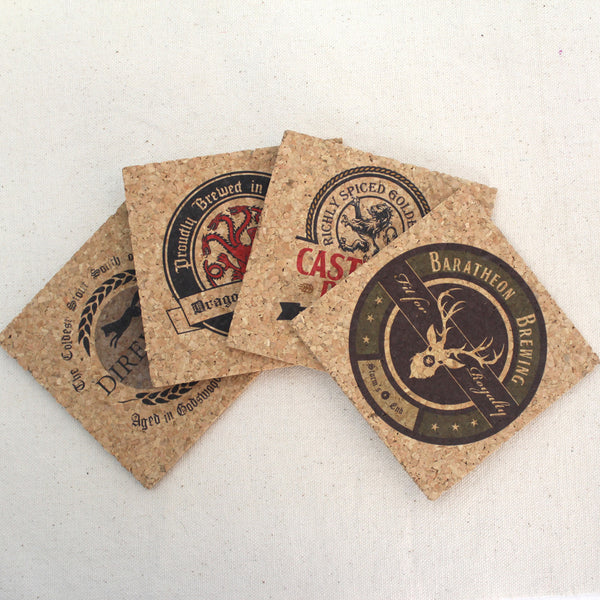 Game of Thrones Inspired Pub Style Cork Coaster Set of 4