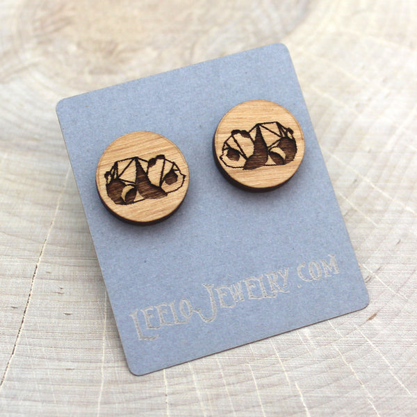 Wooden Geometric Panda Earrings