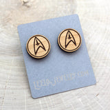 Wooden Star Trek Earrings