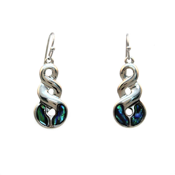 Paua Shell Infinity Spiral Earrings